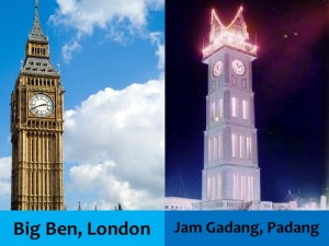jam, gadang, bukittinggi, big, ben. london